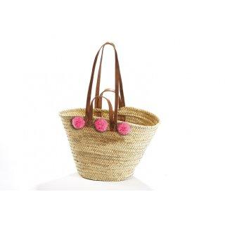 Palmblatt Ibizatasche mit Wollbommeln