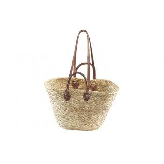 Ibizatasche aus Palmblatt mit Echt-Ledehenkeln