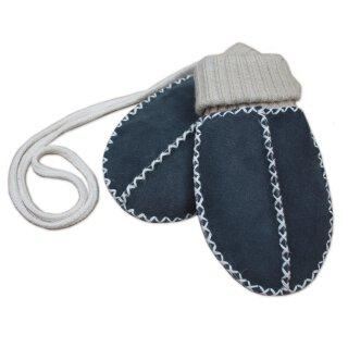 Baby-Lammfellfäustel grau blau mit Strichbündchen